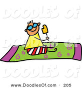 Vector Clipart of a Childs Sketch of a Happy Boy Eating a Popsicle on a Towel by Prawny