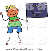 Vector Clipart of a Childs Sketch of a Happy Boy Holding a European Flag by Prawny