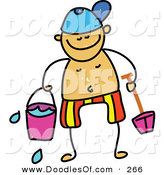 Vector Clipart of a Childs Sketch of a Happy Boy Holding Beach Toys by Prawny