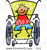 Vector Clipart of a Childs Sketch of a Happy Boy in a Wheelchair by Prawny
