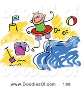 Vector Clipart of a Childs Sketch of a Happy Boy on a Beach by Prawny