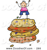 Vector Clipart of a Childs Sketch of a Happy Boy on a Stack of Cookies by Prawny