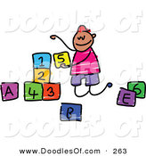 Vector Clipart of a Childs Sketch of a Happy Boy Playing with Letter and Number Blocks by Prawny