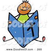 Vector Clipart of a Childs Sketch of a Happy Boy Reading a Bible by Prawny