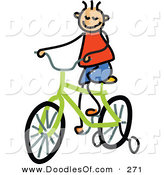 Vector Clipart of a Childs Sketch of a Happy Boy Riding a Bike by Prawny