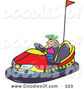 Vector Clipart of a Childs Sketch of a Happy Boy Riding a Bumper Car by Prawny
