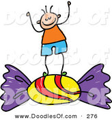 Vector Clipart of a Childs Sketch of a Happy Boy Standing on Candy by Prawny