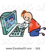 Vector Clipart of a Childs Sketch of a Happy Boy Using a Computer by Prawny