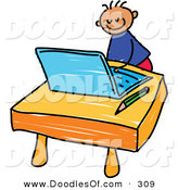 Vector Clipart of a Childs Sketch of a Happy Boy Using a Laptop by Prawny