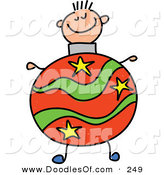 Vector Clipart of a Childs Sketch of a Happy Boy with a Christmas Ball Body by Prawny