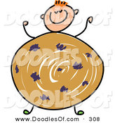Vector Clipart of a Childs Sketch of a Happy Boy with a Cookie Body by Prawny