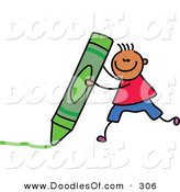 Vector Clipart of a Childs Sketch of a Happy Boy with a Crayon by Prawny