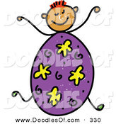 Vector Clipart of a Childs Sketch of a Happy Boy with an Easter Egg Body by Prawny