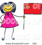Vector Clipart of a Childs Sketch of a Happy Chinese Girl Holding a Flag by Prawny