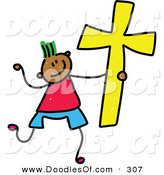 Vector Clipart of a Childs Sketch of a Happy Christian Boy by Prawny