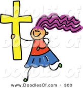Vector Clipart of a Childs Sketch of a Happy Christian Girl by Prawny