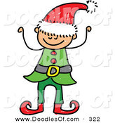 Vector Clipart of a Childs Sketch of a Happy Christmas Elf Boy by Prawny