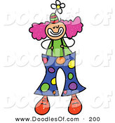 Vector Clipart of a Childs Sketch of a Happy Clown with Big Spotted Pants by Prawny