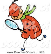 Vector Clipart of a Childs Sketch of a Happy Detective Boy by Prawny