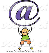 Vector Clipart of a Childs Sketch of a Happy Email Boy by Prawny