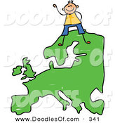 Vector Clipart of a Childs Sketch of a Happy European Boy Standing on a Map of Asia by Prawny