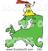 Vector Clipart of a Childs Sketch of a Happy European Girl on a Map of Europe by Prawny