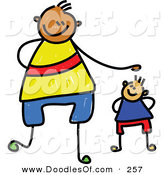 Vector Clipart of a Childs Sketch of a Happy Father and Son by Prawny