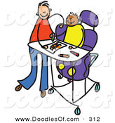 Vector Clipart of a Childs Sketch of a Happy Father Feeding a Disabled Boy by Prawny