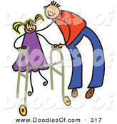 Vector Clipart of a Childs Sketch of a Happy Father Helping a Girl Use a Walker by Prawny