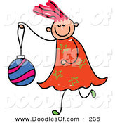 Vector Clipart of a Childs Sketch of a Happy Girl Carrying a Christmas Ball by Prawny