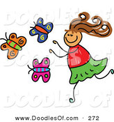 Vector Clipart of a Childs Sketch of a Happy Girl Chasing Butterflies by Prawny