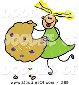 Vector Clipart of a Childs Sketch of a Happy Girl Eating a Giant Cookie by Prawny