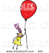 Vector Clipart of a Childs Sketch of a Happy Girl Floating Away with a Balloon by Prawny