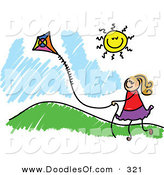 Vector Clipart of a Childs Sketch of a Happy Girl Flying a Kite by a Hill by Prawny
