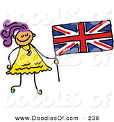 Vector Clipart of a Childs Sketch of a Happy Girl Holding a British Flag by Prawny