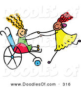 Vector Clipart of a Childs Sketch of a Happy Girl in a Wheelchair Playing with Her Friend by Prawny
