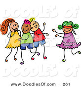 Vector Clipart of a Childs Sketch of a Happy Girl Playing Blind Mans Bluff by Prawny