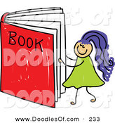 Vector Clipart of a Childs Sketch of a Happy Girl Reading a Giant Book by Prawny
