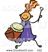 Vector Clipart of a Childs Sketch of a Happy Girl Running with a Drum by Prawny