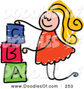 Vector Clipart of a Childs Sketch of a Happy Girl Stacking Letter Blocks by Prawny