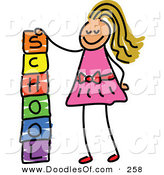Vector Clipart of a Childs Sketch of a Happy Girl Stacking School Blocks by Prawny