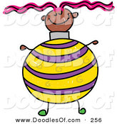 Vector Clipart of a Childs Sketch of a Happy Girl with a Christmas Ball Body by Prawny