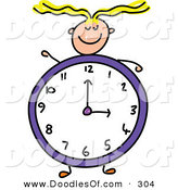 Vector Clipart of a Childs Sketch of a Happy Girl with a Clock Body by Prawny