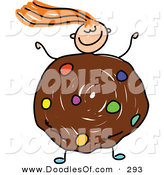 Vector Clipart of a Childs Sketch of a Happy Girl with a Cookie Body by Prawny