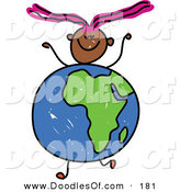 Vector Clipart of a Childs Sketch of a Happy Girl with an African Globe for a Body by Prawny