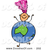Vector Clipart of a Childs Sketch of a Happy Girl with an Australian Globe Body by Prawny