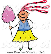 Vector Clipart of a Childs Sketch of a Happy Girl with Cotton Candy by Prawny