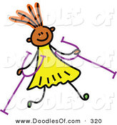 Vector Clipart of a Childs Sketch of a Happy Girl with Crutches by Prawny