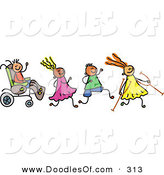Vector Clipart of a Childs Sketch of a Happy Group of Disabled Kids on White by Prawny