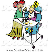 Vector Clipart of a Childs Sketch of a Happy Mother Feeding Her Disabled Daughter by Prawny